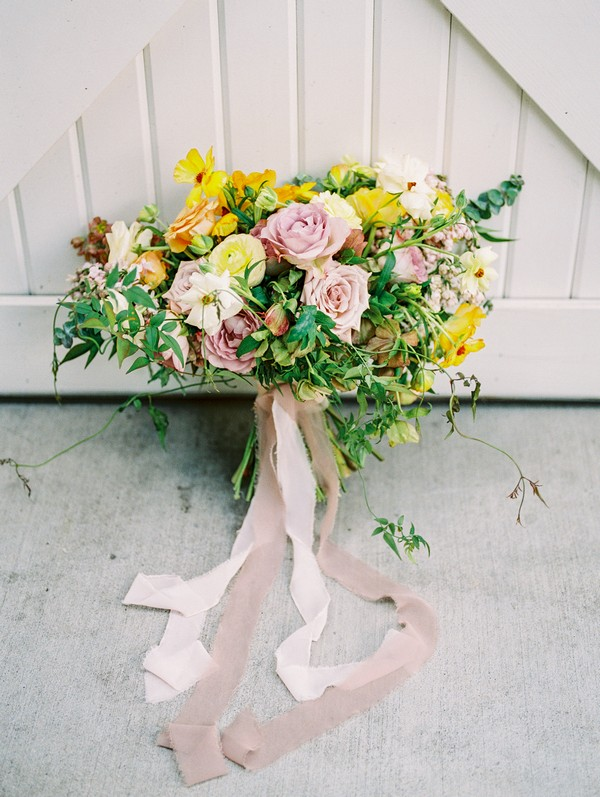 Bridal bouquet with yellow and pink flowers