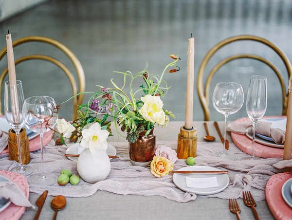 Modern wedding table styling