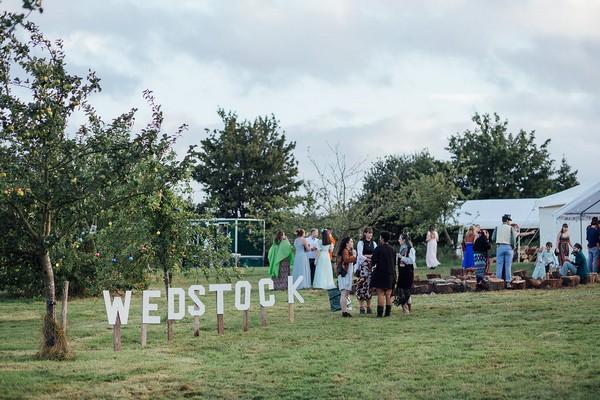 Wedstock wedding sign for festival wedding