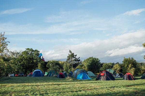 Camp site for festival wedding