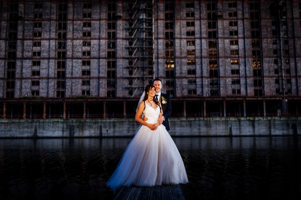 Bride and groom in Liverpool Docks