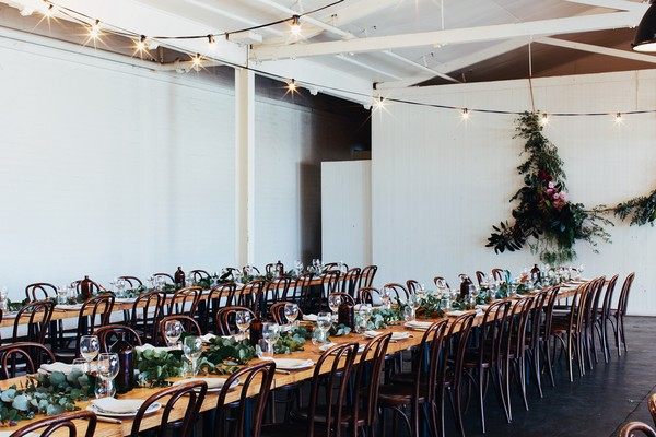 Long wedding tables in Gather and Tailor