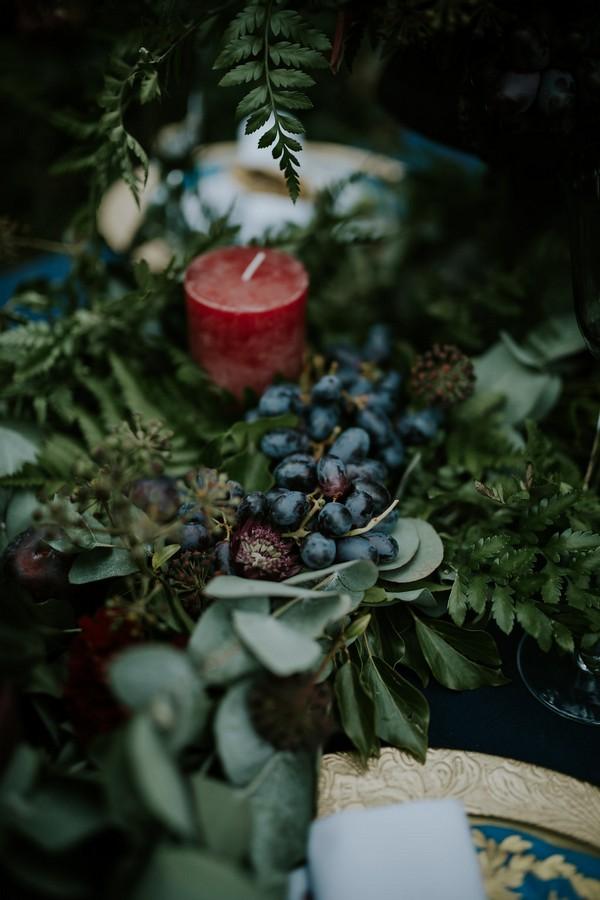 Foliage and candle