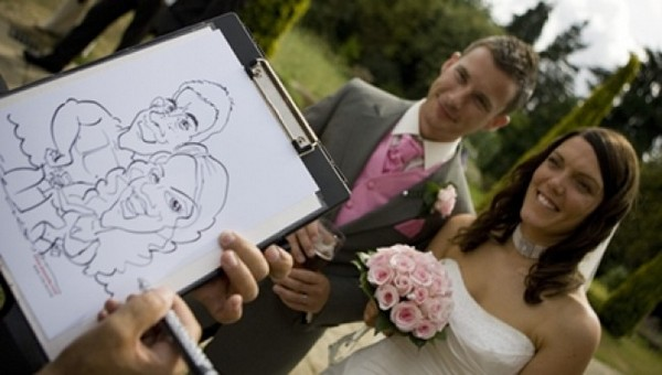 Caricaturist Drawing Bride and Groom