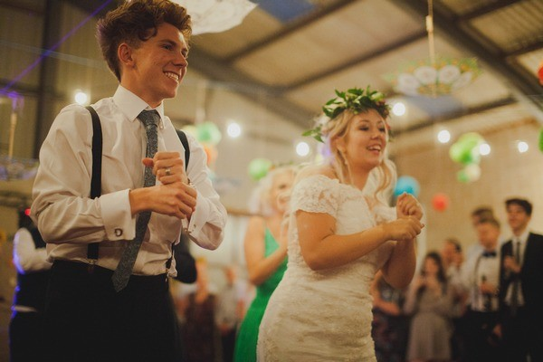 Bride and Groom Performing Choreographed Dance Moves