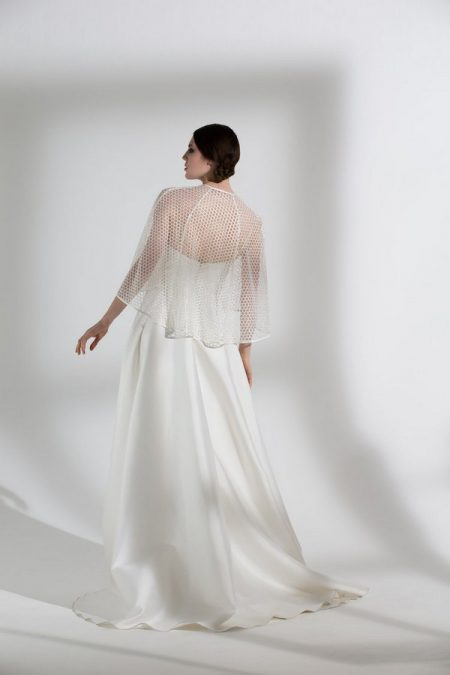 Back of Ellie Wedding Dress with Honeysuckle Cape from the Halfpenny London The Garden After the Rain 2018 Bridal Collection