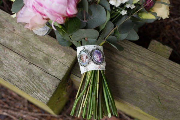 Family Heirloom Brooches with Photographs on Bridal Bouquet to Remember Lost Loved One