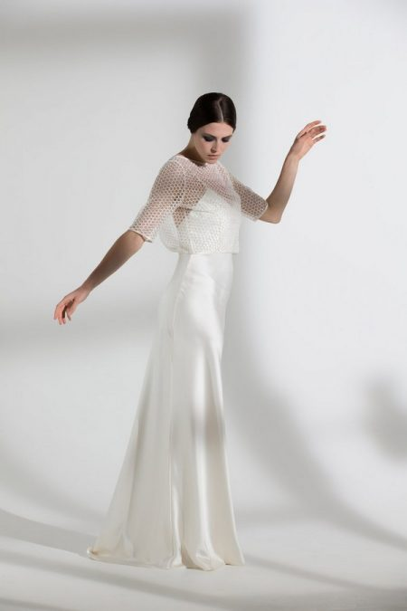 Honeysuckle Jacket with Iris Slip from the Halfpenny London The Garden After the Rain 2018 Bridal Collection