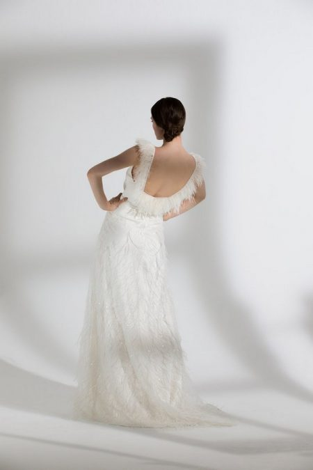 Back of Iris Ostrich Camisole with Maribou Skirt from the Halfpenny London The Garden After the Rain 2018 Bridal Collection