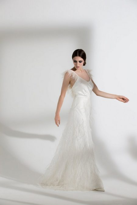 Iris Ostrich Camisole with Maribou Skirt from the Halfpenny London The Garden After the Rain 2018 Bridal Collection