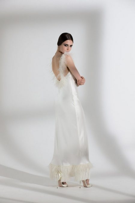 Back of Iris Ostrich and Fringe Wedding Dress from the Halfpenny London The Garden After the Rain 2018 Bridal Collection