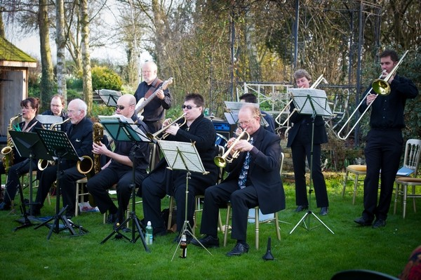 Jazz Band Performing at Wedding Drinks Reception
