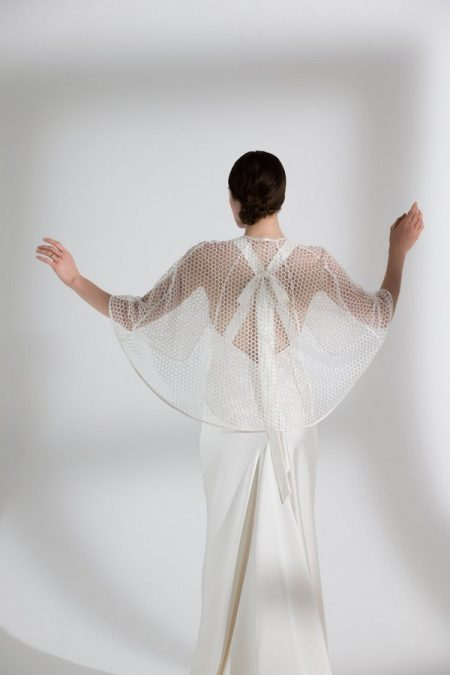 Back of Juniper Wedding Dress with Honeysuckle Cape from the Halfpenny London The Garden After the Rain 2018 Bridal Collection