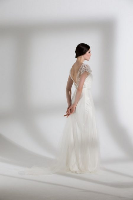 Back of Peony Tulle Wedding Dress with Iris Slip from the Halfpenny London The Garden After the Rain 2018 Bridal Collection