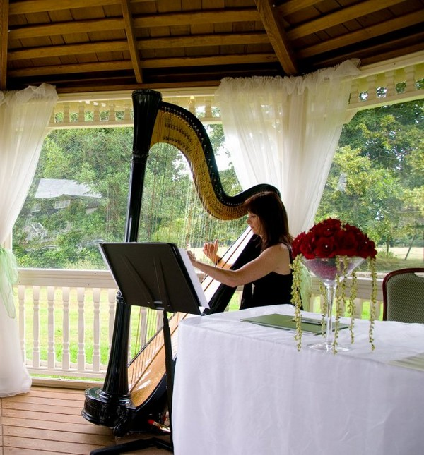 Woman playing beautiful harp at wedding