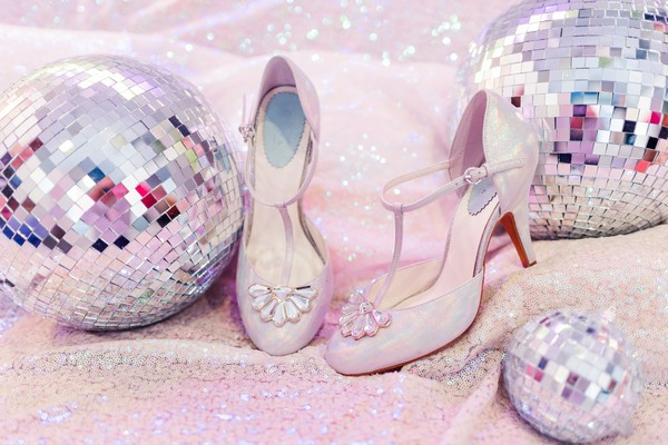 Bridal shoes and disco balls