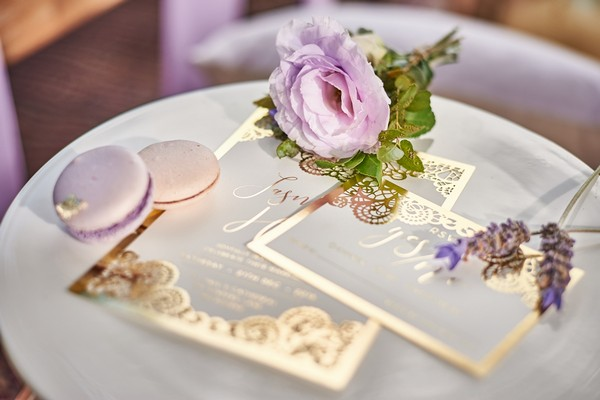 Boho luxe wedding stationery with gold detailing
