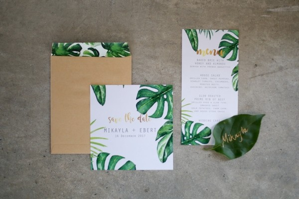 Botanical wedding stationery with leaf design