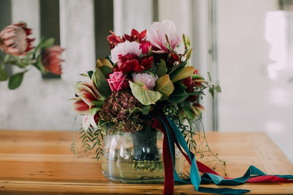 Bridal bouquet in a vase