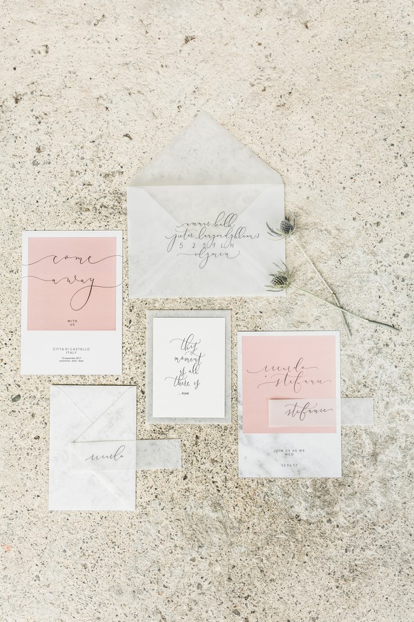 Elegant pink and grey stationery for Lake Como wedding