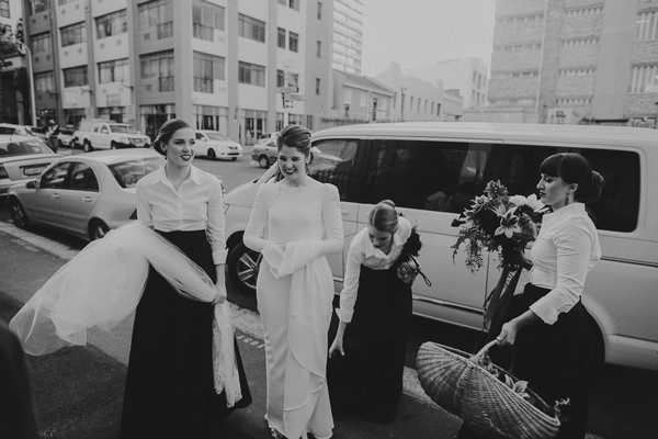 Bride arriving for wedding