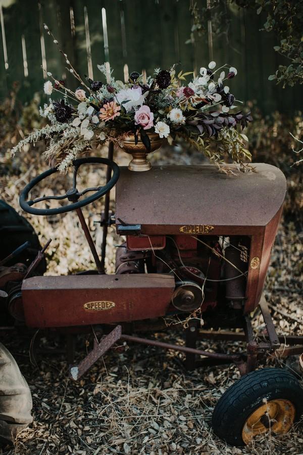 Wedding flowers on farm machinery