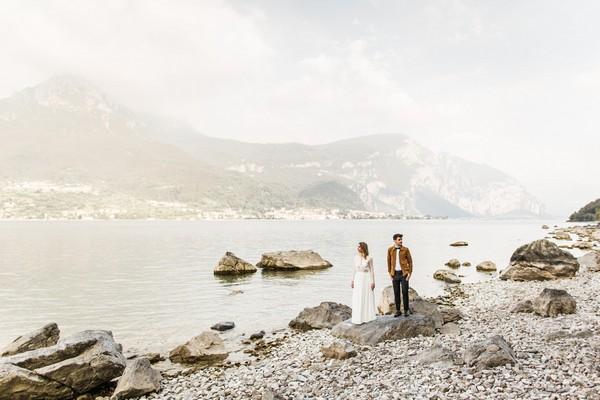 Bride and groom by Lake Como