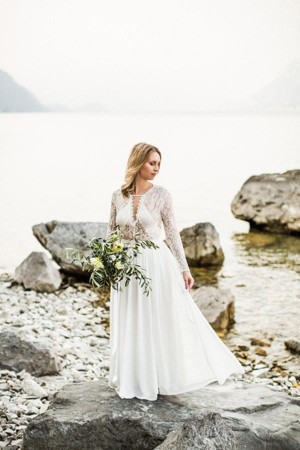 Bride wearing Inmaculada Garcia wedding dress by Lake Como