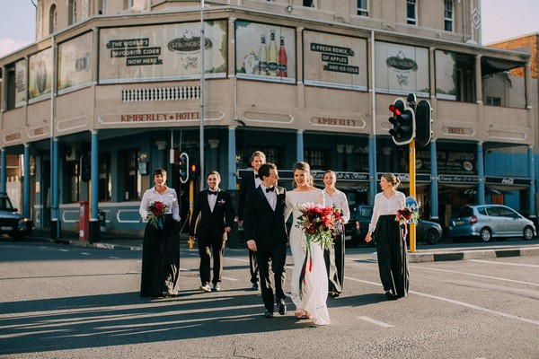 Bridal party crossing the road