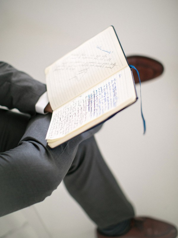 Wedding vows written in notebook