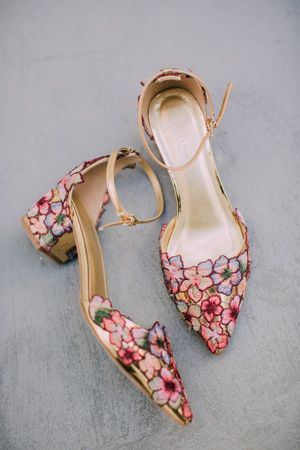 Bridal shoes with colourful petal design