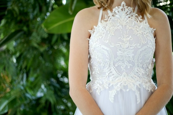Detail on from of wedding dress