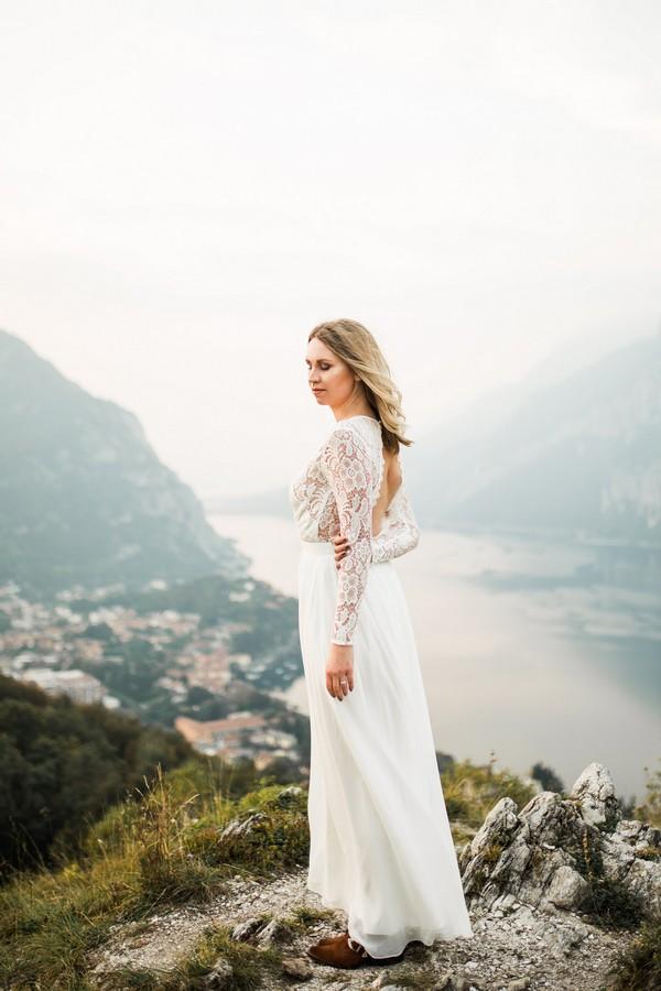 Bride at top of mountain at Lake Como