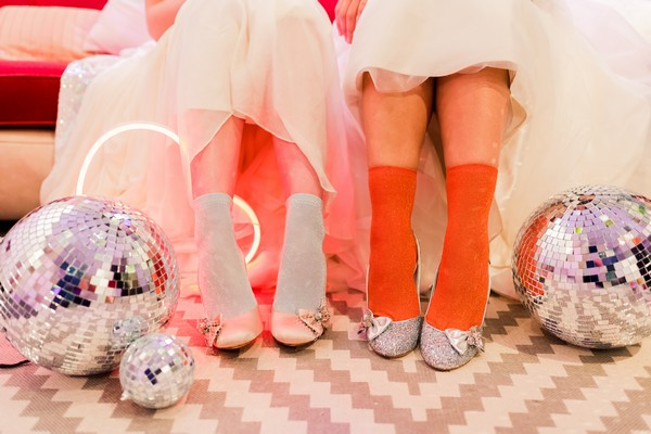 Brides with socks and bridal shoes