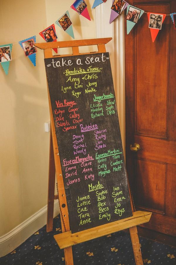 Wedding seating plan on chalkboard