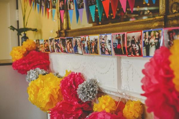 Photos across fireplace