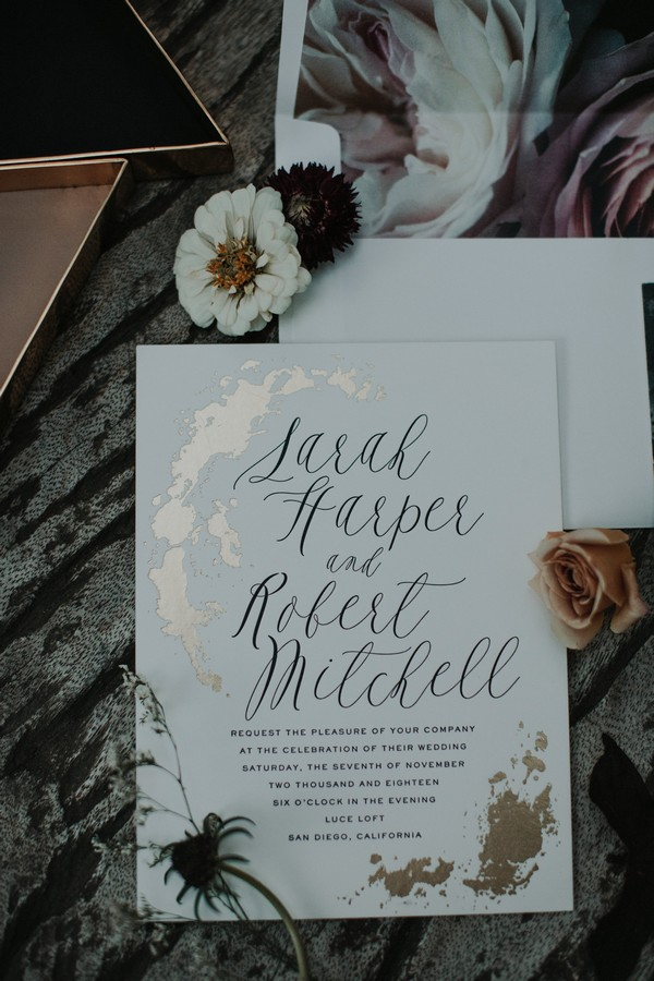 Wedding invitation with script font