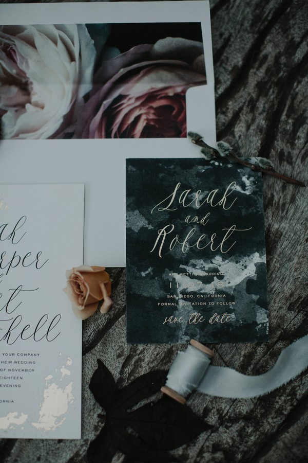 Marble effect wedding save the date
