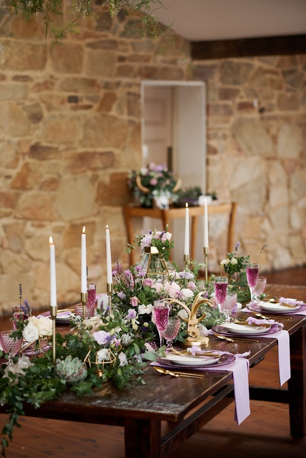 Wedding table with purple and lavender styling