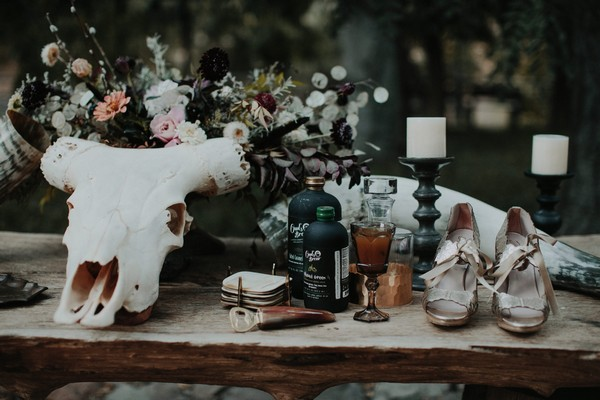 Table props for hauntingly romantic autumn wedding shoot