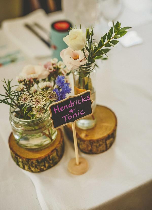 Hendricks and Tonic wedding table sign