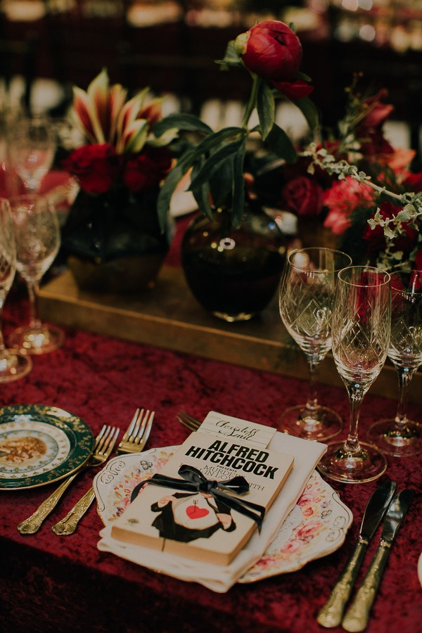 Book at wedding place setting