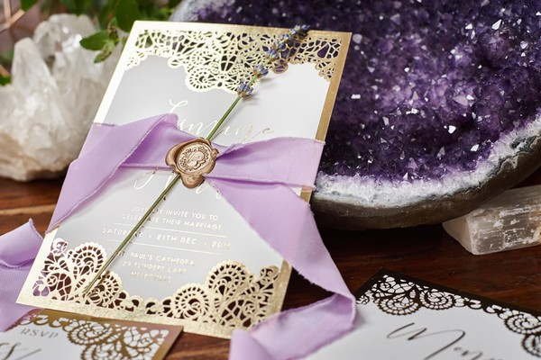 Wedding stationery with lavender and lilac ribbon