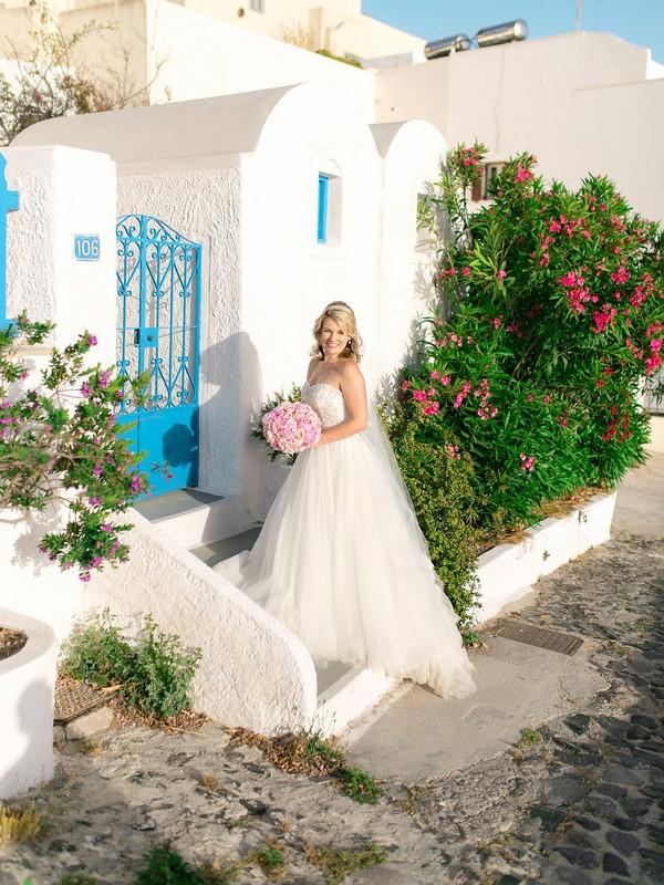Bride outside house in Santorini