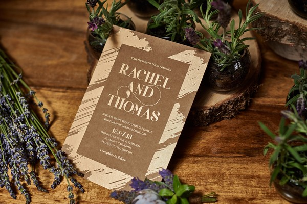 Natural effect wedding stationery