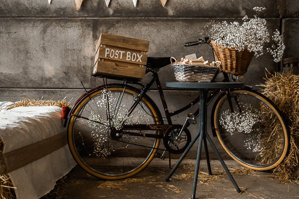 Old bicycle with box for wedding cards