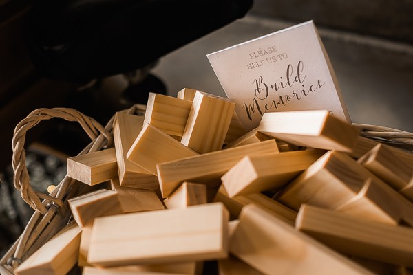 Jenga pieces for wedding messages