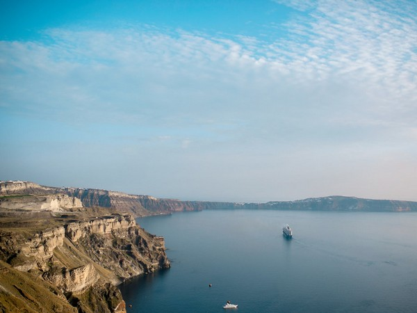 Santorini and sea