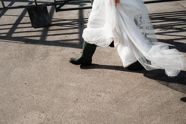 Bride's Wellington boots