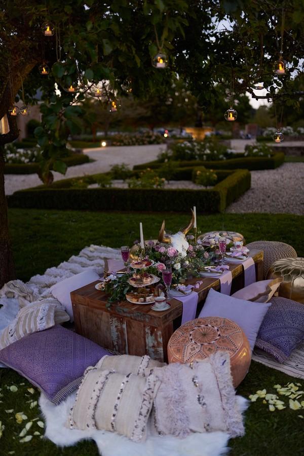 Wedding table under tree in evening